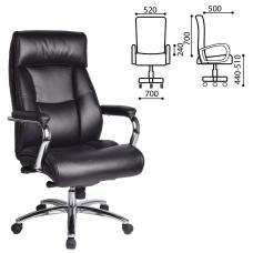 Кресло офисное BRABIX 'Phaeton EX-502', натуральная кожа, хром, черное, 530882