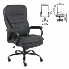 Кресло офисное BRABIX 'Heavy Duty HD-001', усиленная конструкция, нагрузка до 200 кг, экокожа, 531015