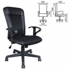Кресло BRABIX 'Optima MG-370', с подлокотниками, экокожа/ткань, черное, 531580