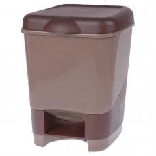 Ведро-контейнер 20 л, с крышкой и педалью, для мусора, 43х32х32 см, цвет серый, бежевый/коричневый, 4342800