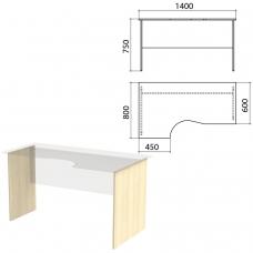 Опоры к столам эргономичным 'Канц' 1400х800х750 мм, левый/правый, цвет дуб молочный, СК30.15.2