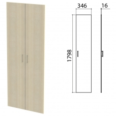 Дверь ЛДСП высокая 'Канц', КОМПЛЕКТ 2 шт, 346х16х1798 мм, цвет дуб молочный, ШК40.15.1