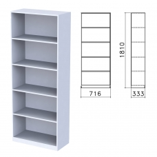 Шкаф стеллаж 'Бюджет', 716х333х1810 мм, 4 полки, серый, 402651-030